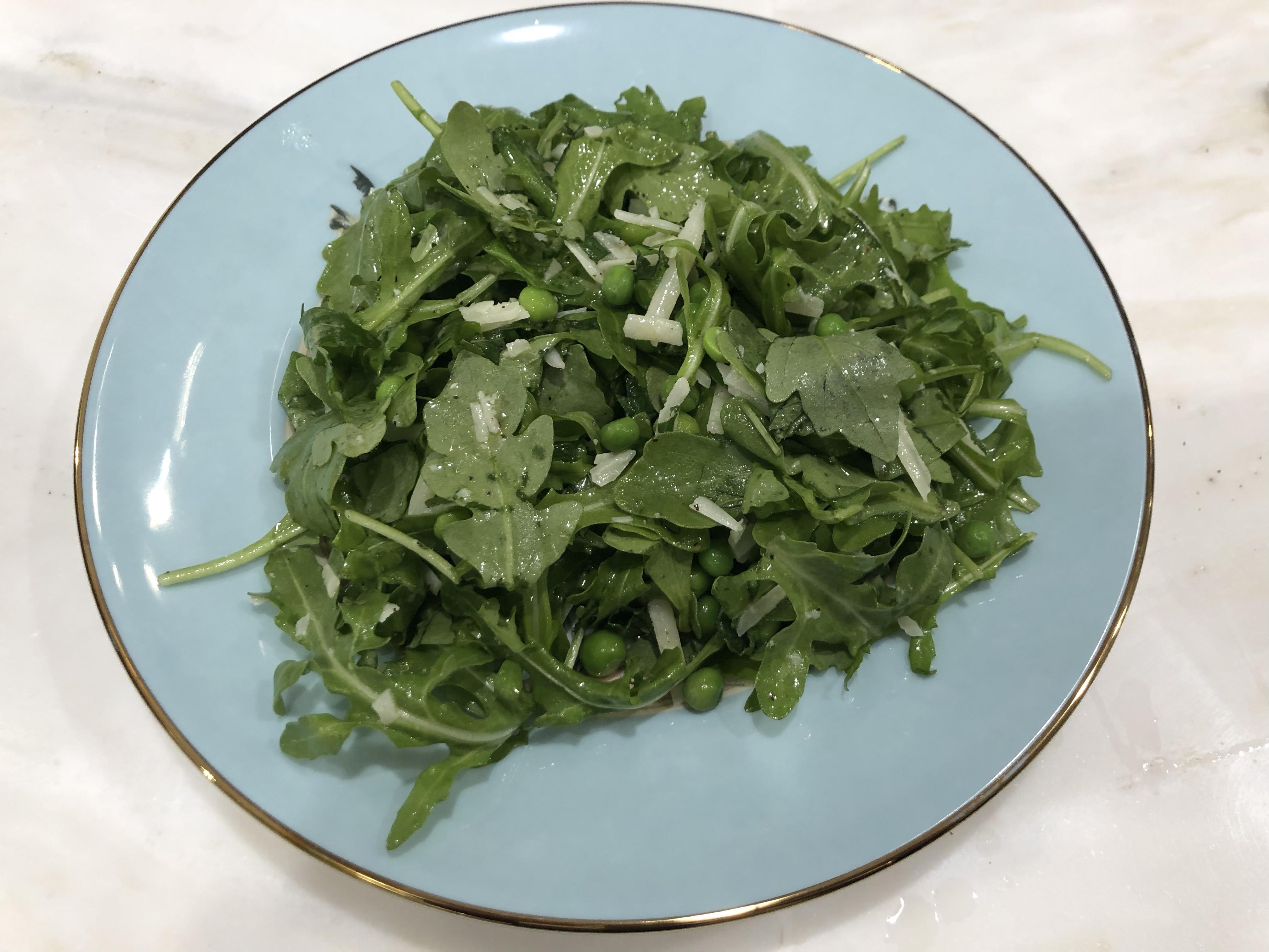 The WBS:  Arugula, pea & mint salad